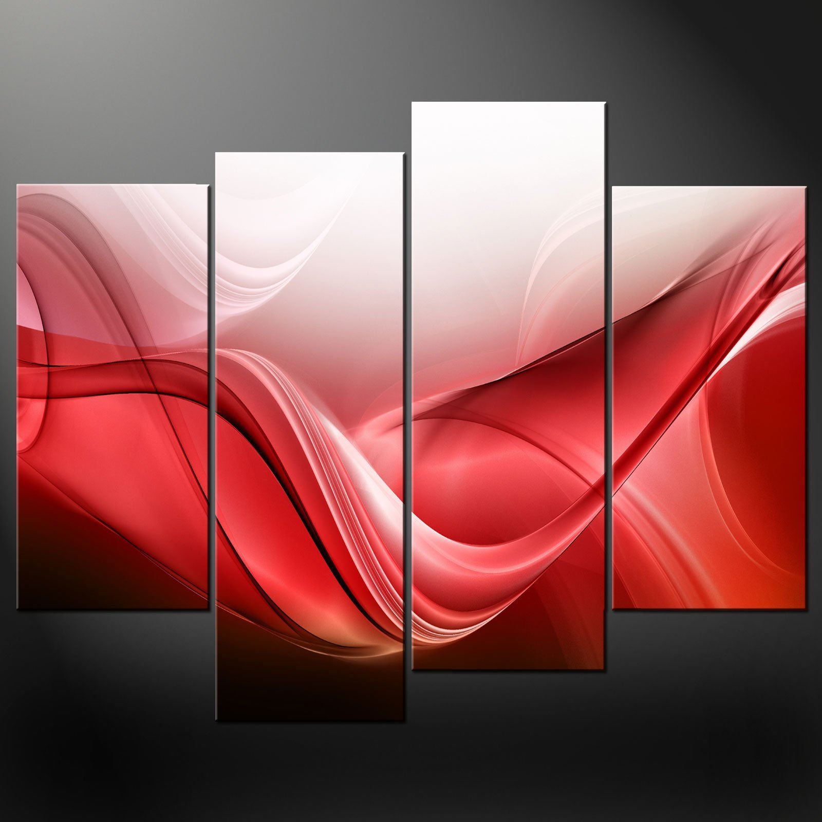 Red Wall Decor Art : Red waves canvas wall art pictures prints decor larger