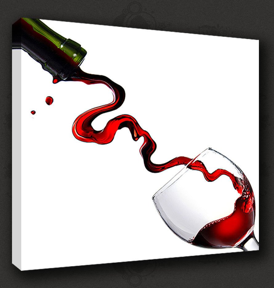 RED WINE GLASS SPLASH CANVAS WALL ART ...