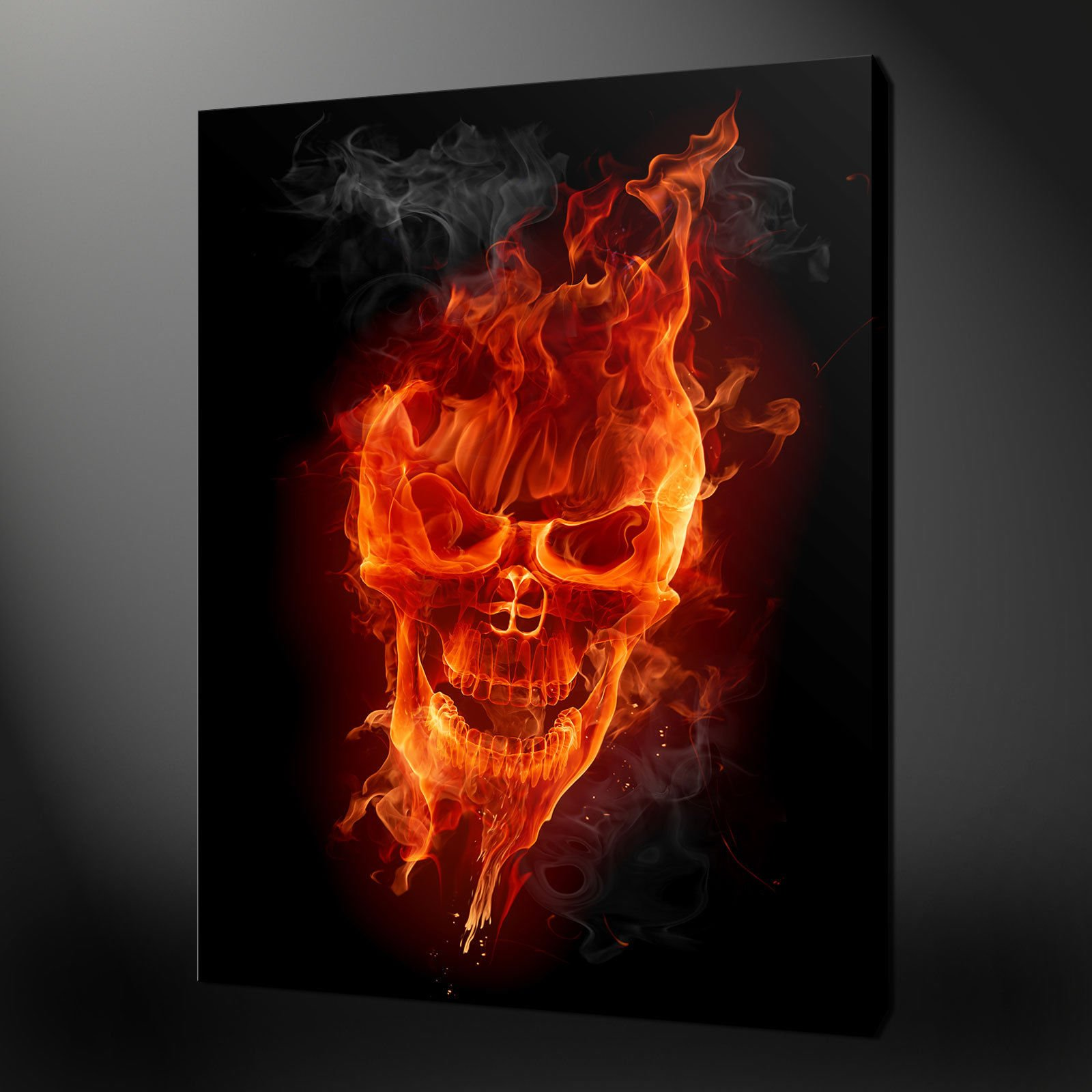 Canvas print pictures high quality handmade free next day delivery skull on fire voltagebd Choice Image