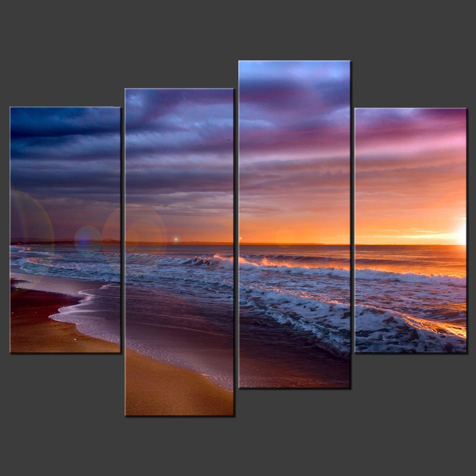 Beach Canvas Wall Art sunset beach blue split canvas wall art pictures prints larger