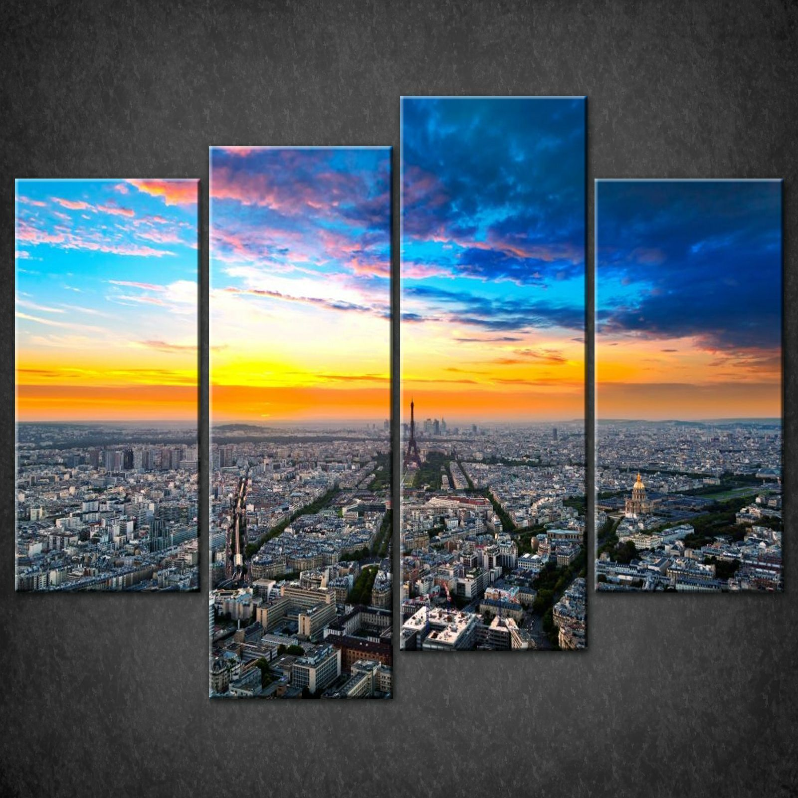Large Framed Wall Art New York City Landscape Sunset: Canvas Print Pictures. High Quality, Handmade, Free Next