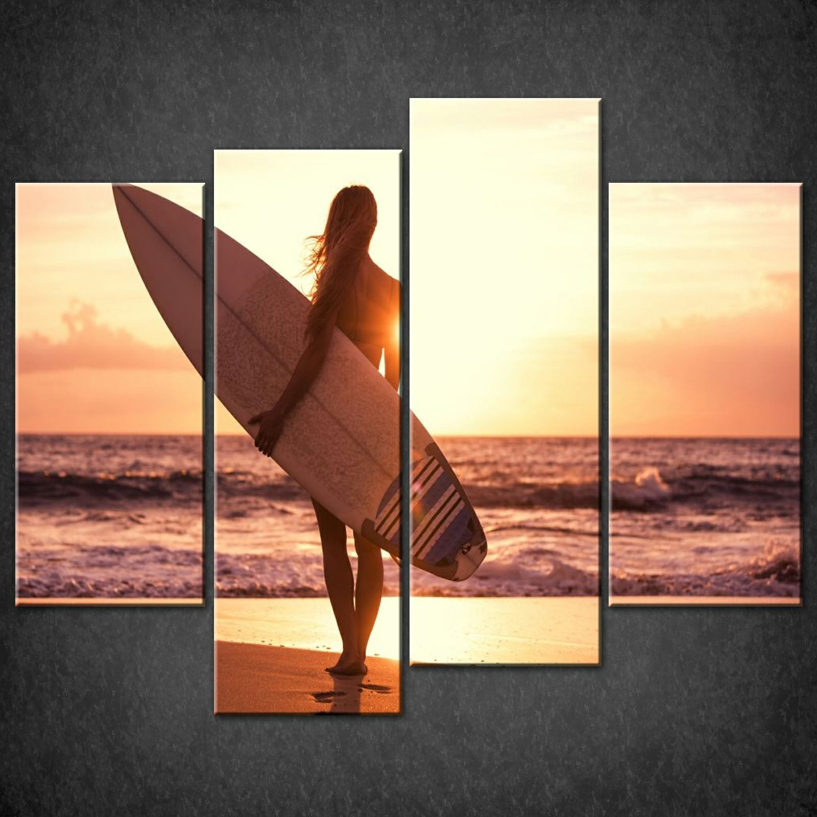 SURFER-GIRL-SPLIT-CANVAS-WALL-ART-PICTURES-PRINTS-LARGER-SIZES-AVAILABLE-111516814074