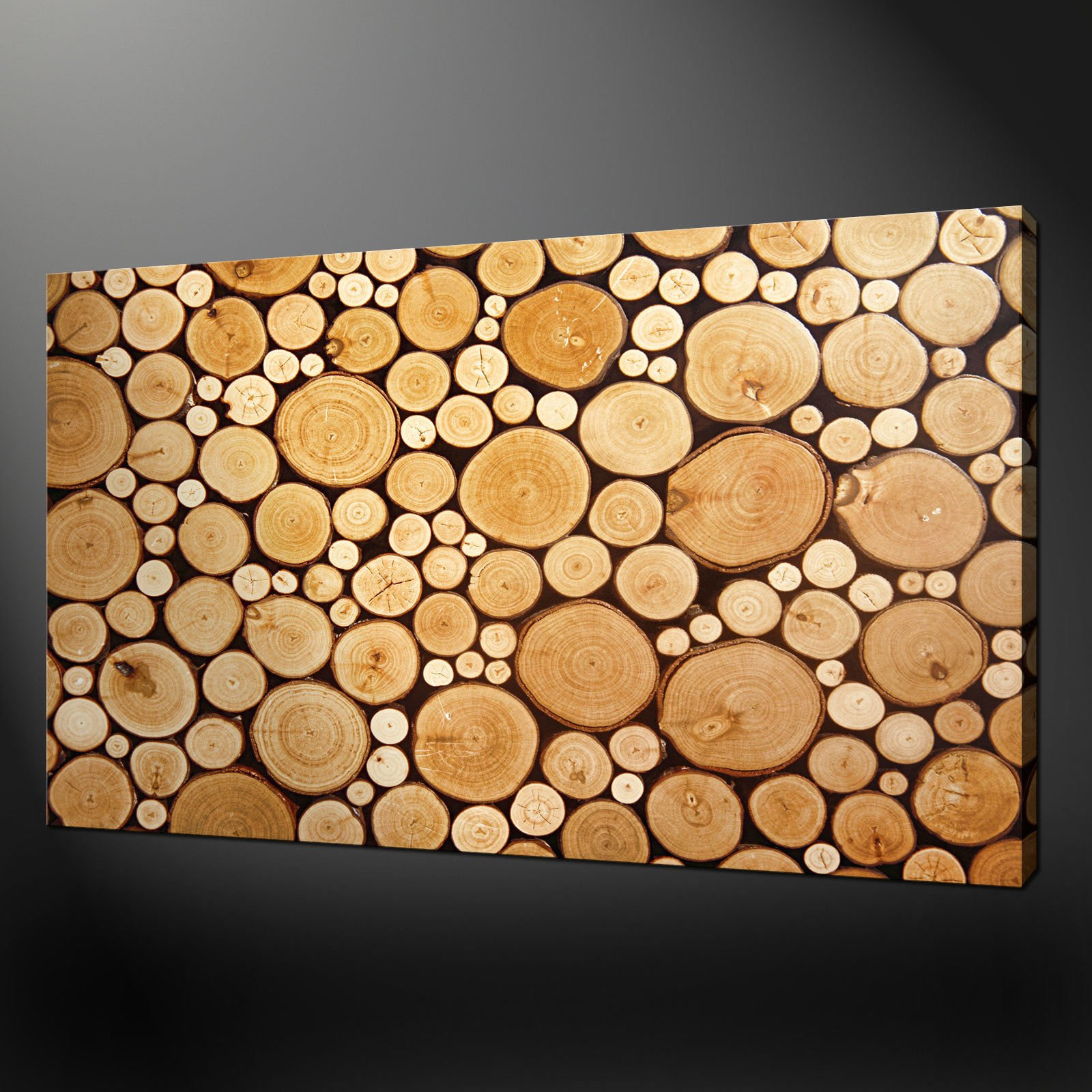 THE WOOD LOGS BOX CANVAS PRINT PICTURE MODERN WALL ART