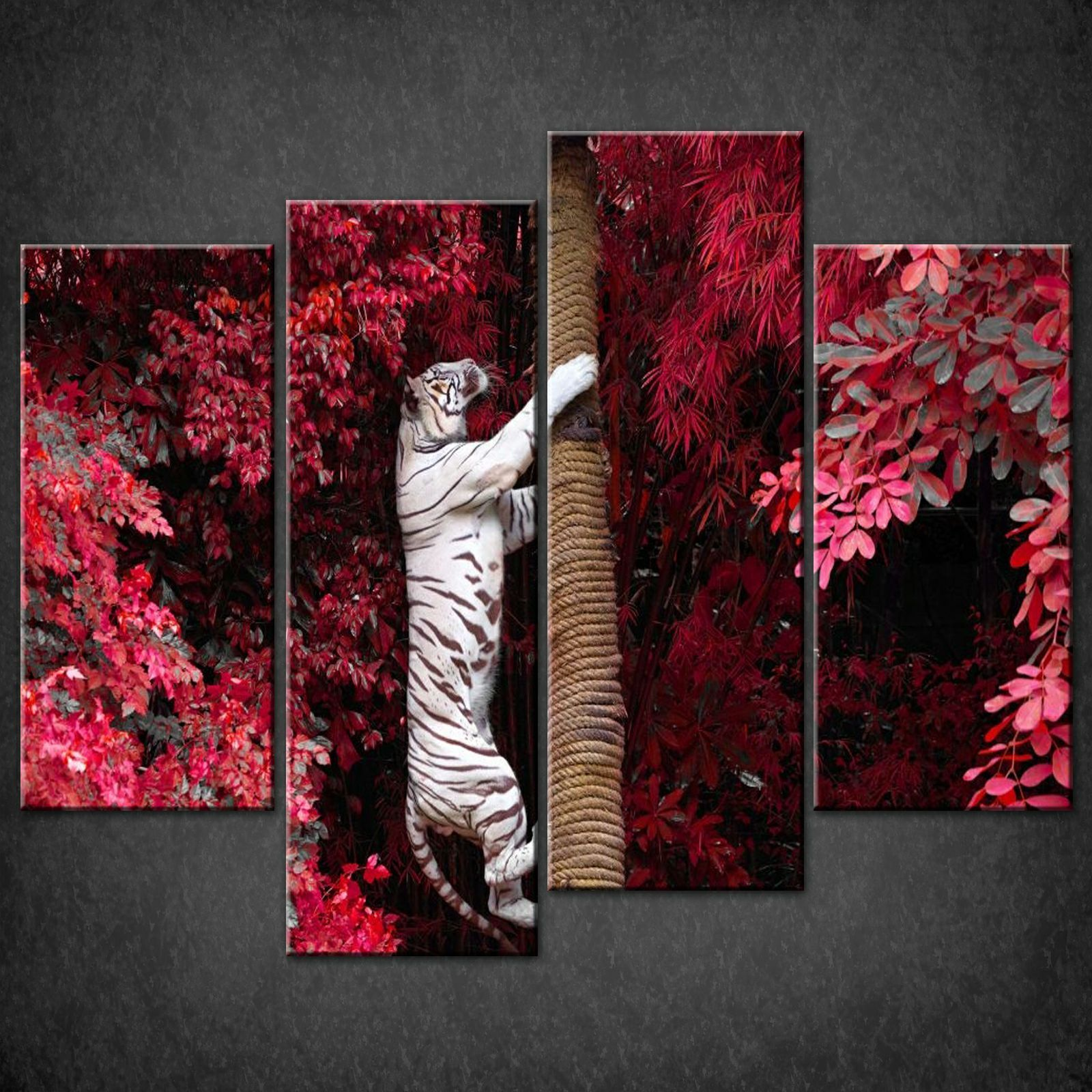 TIGER-CLIMBING-TREE-SPLIT-CANVAS-WALL-ART-PICTURES-PRINTS-LARGER-SIZES-AVAILABLE-111515769990