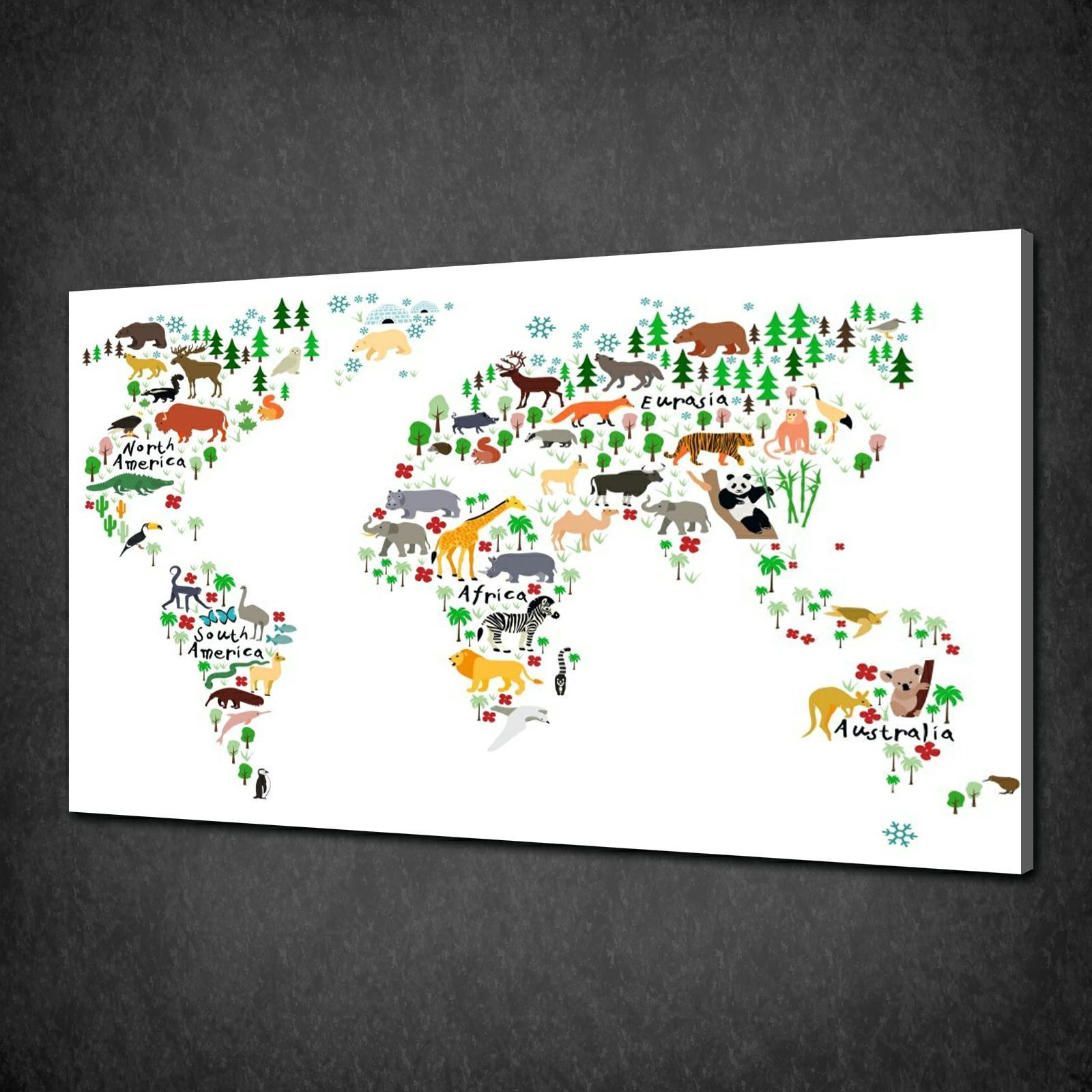 Canvas print pictures high quality handmade free next day delivery wnter animals world map kids canvas print art picture wall hanging gumiabroncs Images
